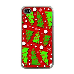 Twisted Christmas Trees Apple Iphone 4 Case (clear)