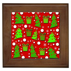 Christmas Trees And Gifts Pattern Framed Tiles by Valentinaart