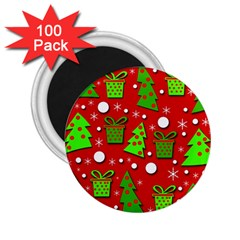 Christmas Trees And Gifts Pattern 2 25  Magnets (100 Pack)  by Valentinaart