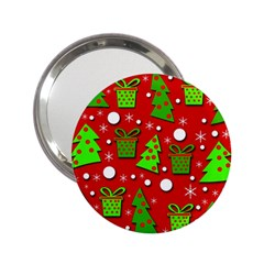 Christmas Trees And Gifts Pattern 2 25  Handbag Mirrors by Valentinaart