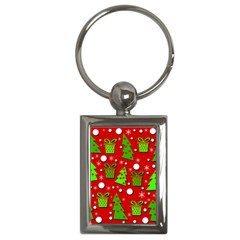 Christmas Trees And Gifts Pattern Key Chains (rectangle)  by Valentinaart