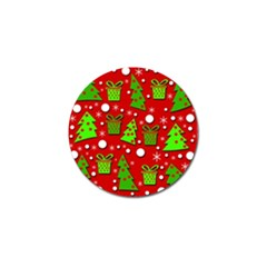 Christmas Trees And Gifts Pattern Golf Ball Marker by Valentinaart