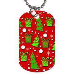 Christmas Trees And Gifts Pattern Dog Tag (two Sides) by Valentinaart
