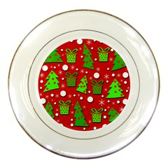 Christmas Trees And Gifts Pattern Porcelain Plates by Valentinaart