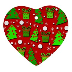 Christmas Trees And Gifts Pattern Heart Ornament (2 Sides) by Valentinaart