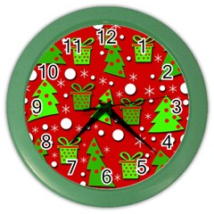 Christmas Trees And Gifts Pattern Color Wall Clocks by Valentinaart