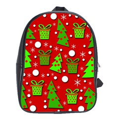 Christmas Trees And Gifts Pattern School Bags(large)  by Valentinaart