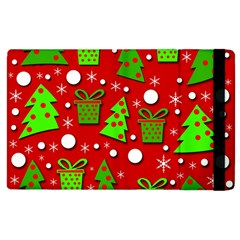 Christmas Trees And Gifts Pattern Apple Ipad 2 Flip Case by Valentinaart