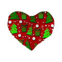Christmas Trees And Gifts Pattern Standard 16  Premium Heart Shape Cushions by Valentinaart