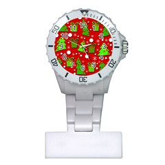 Christmas Trees And Gifts Pattern Plastic Nurses Watch by Valentinaart