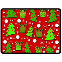 Christmas Trees And Gifts Pattern Double Sided Fleece Blanket (large)  by Valentinaart