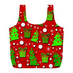 Christmas Trees And Gifts Pattern Full Print Recycle Bags (l)  by Valentinaart
