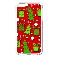 Christmas Trees And Gifts Pattern Apple Iphone 6 Plus/6s Plus Enamel White Case by Valentinaart
