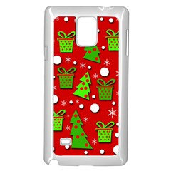 Christmas Trees And Gifts Pattern Samsung Galaxy Note 4 Case (white) by Valentinaart