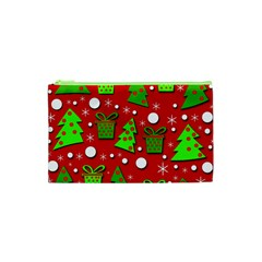 Christmas Trees And Gifts Pattern Cosmetic Bag (xs) by Valentinaart