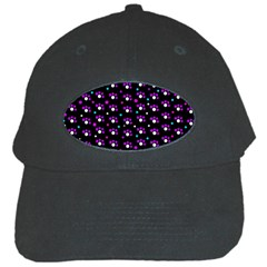 Purple Dots Pattern Black Cap by Valentinaart