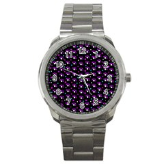 Purple Dots Pattern Sport Metal Watch by Valentinaart