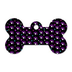Purple Dots Pattern Dog Tag Bone (two Sides) by Valentinaart