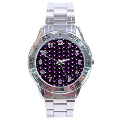 Purple Dots Pattern Stainless Steel Analogue Watch by Valentinaart