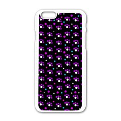 Purple Dots Pattern Apple Iphone 6/6s White Enamel Case by Valentinaart