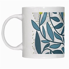 Blue Floral Design White Mugs by Valentinaart