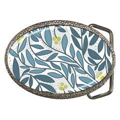 Blue Floral Design Belt Buckles by Valentinaart
