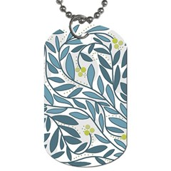 Blue Floral Design Dog Tag (two Sides) by Valentinaart