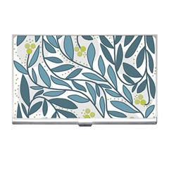 Blue Floral Design Business Card Holders by Valentinaart