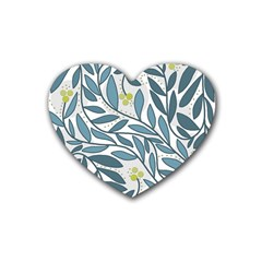 Blue Floral Design Rubber Coaster (heart)  by Valentinaart