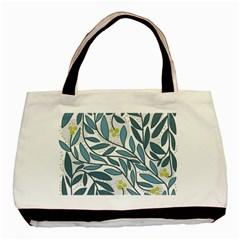 Blue Floral Design Basic Tote Bag (two Sides) by Valentinaart