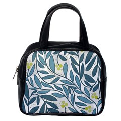 Blue Floral Design Classic Handbags (one Side)