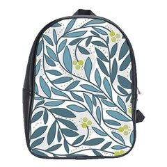 Blue Floral Design School Bags (xl)  by Valentinaart