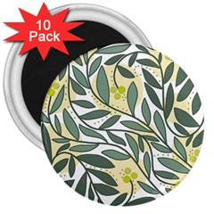 Green Floral Pattern 3  Magnets (10 Pack)