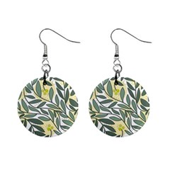 Green Floral Pattern Mini Button Earrings by Valentinaart