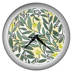 Green Floral Pattern Wall Clocks (silver)  by Valentinaart