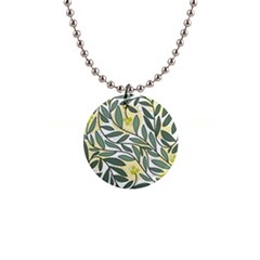 Green Floral Pattern Button Necklaces