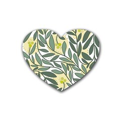 Green Floral Pattern Heart Coaster (4 Pack)  by Valentinaart