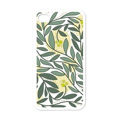 Green Floral Pattern Apple Iphone 4 Case (white) by Valentinaart