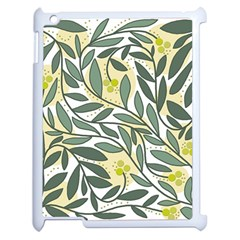 Green Floral Pattern Apple Ipad 2 Case (white) by Valentinaart