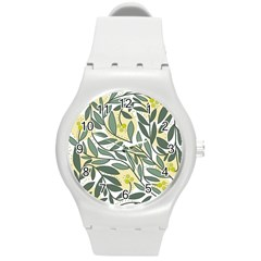 Green Floral Pattern Round Plastic Sport Watch (m) by Valentinaart