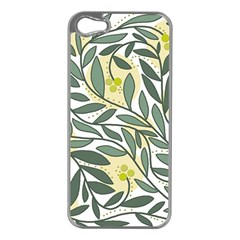 Green Floral Pattern Apple Iphone 5 Case (silver) by Valentinaart