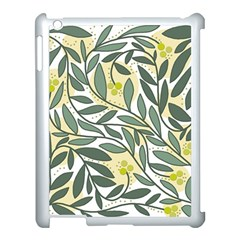 Green Floral Pattern Apple Ipad 3/4 Case (white) by Valentinaart