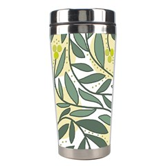 Green Floral Pattern Stainless Steel Travel Tumblers by Valentinaart