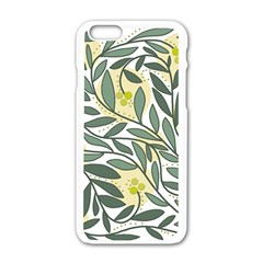 Green Floral Pattern Apple Iphone 6/6s White Enamel Case