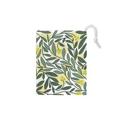 Green Floral Pattern Drawstring Pouches (xs)  by Valentinaart
