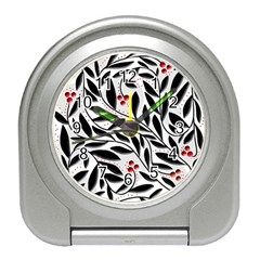 Red, Black And White Elegant Pattern Travel Alarm Clocks