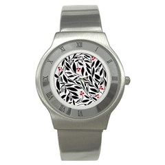Red, Black And White Elegant Pattern Stainless Steel Watch by Valentinaart