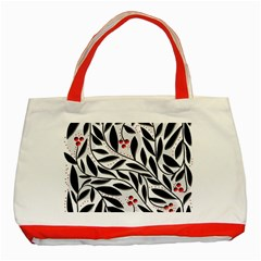 Red, Black And White Elegant Pattern Classic Tote Bag (red) by Valentinaart