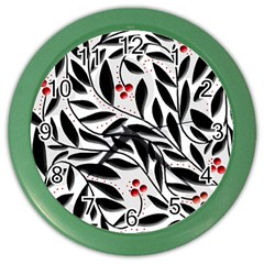 Red, Black And White Elegant Pattern Color Wall Clocks by Valentinaart