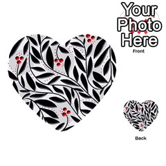 Red, Black And White Elegant Pattern Multi Purpose Cards (heart)  by Valentinaart
